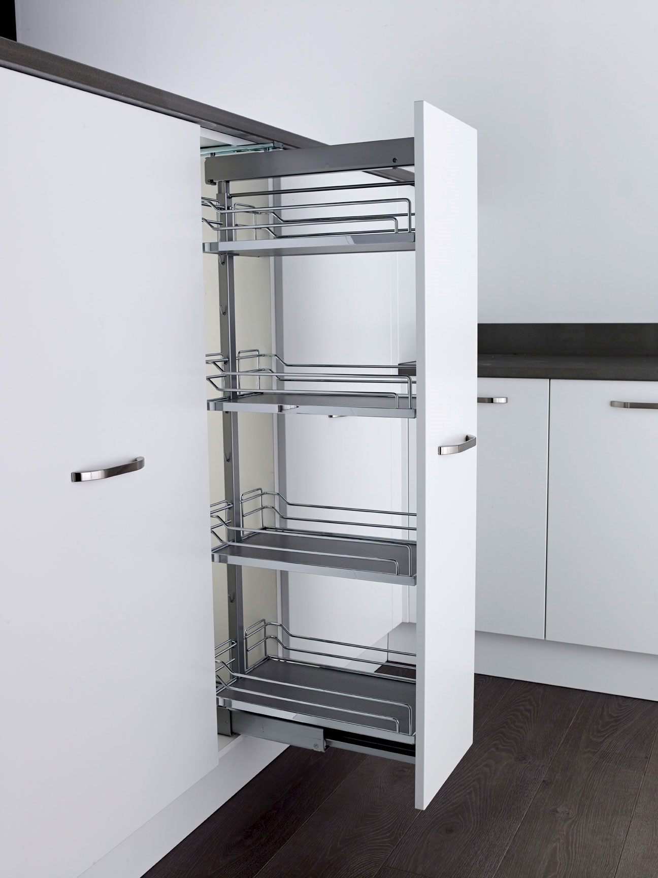 Chrome Kitchen Cabinets Larder Pull Out Kesseb 246 Hmer Arena Larder Pull Out Full