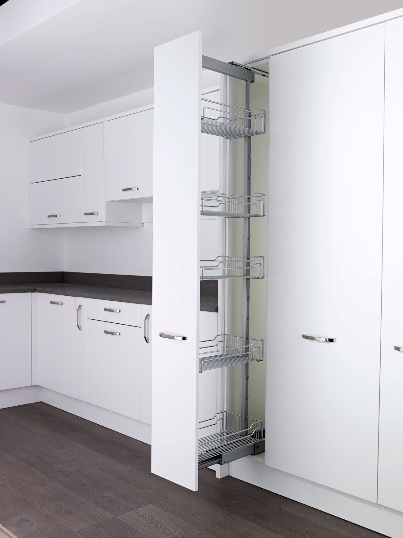 Larder Pull Out Kesseb Hmer Classic Larder Pull Out Full Extension W 500mm H 2200mm Chrome