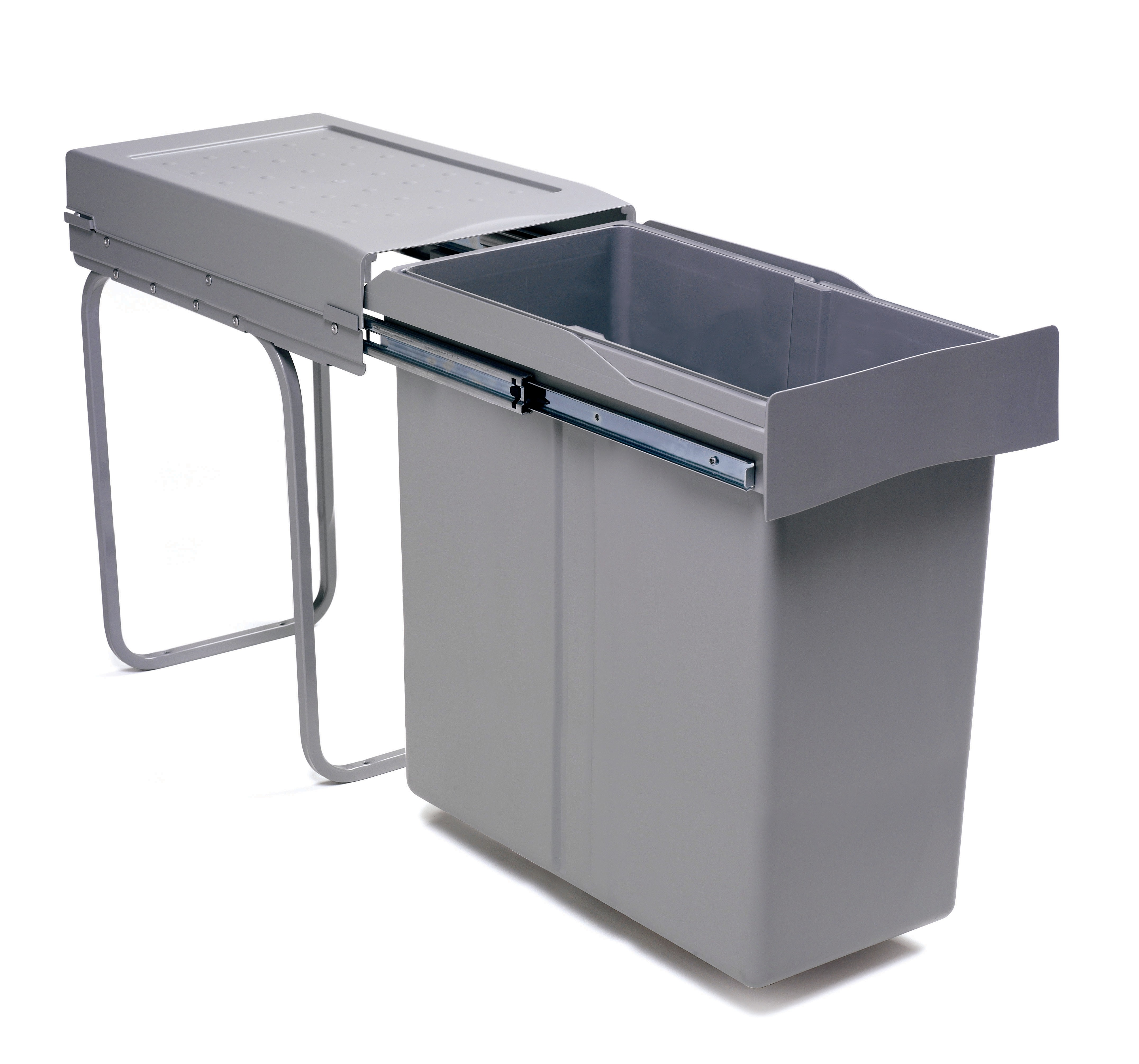 Waste bin waste bin 40 l grey 537mm h 255mm w 450mm d for Bins for kitchen cabinets